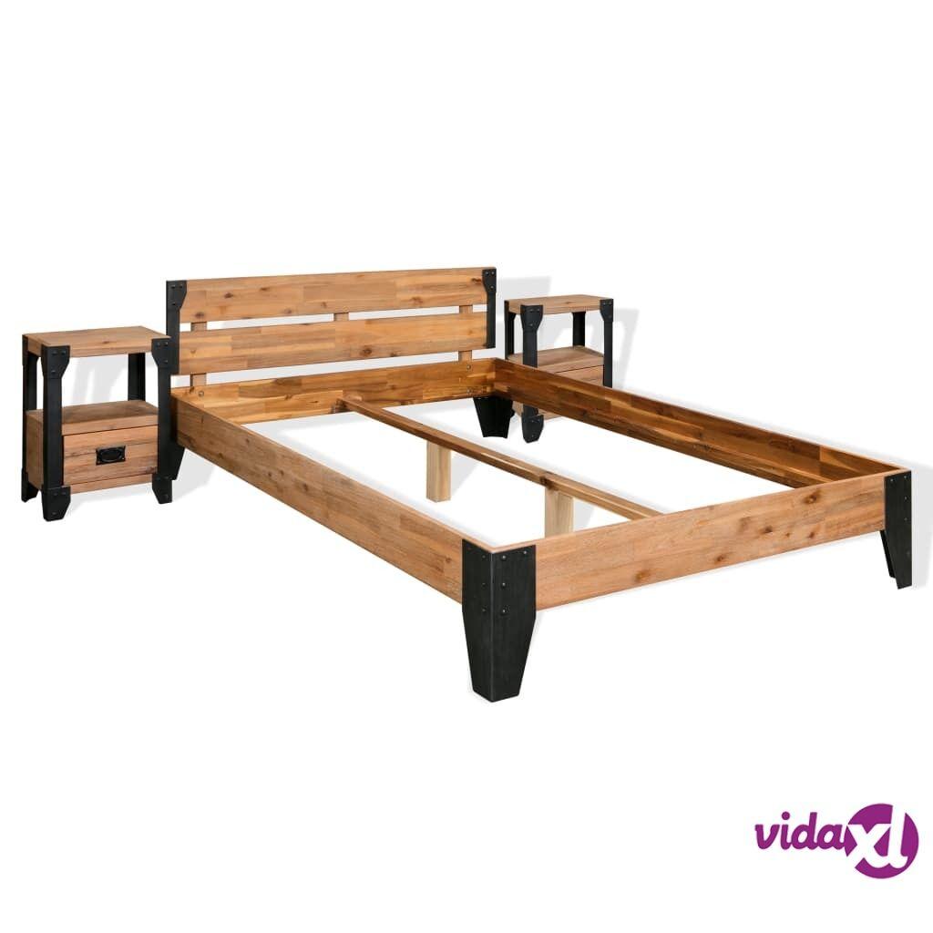 Image of vidaXL Sängynrunko ja 2 yöpöytää Kiinteä akaasiapuu ja teräs 140x200cm