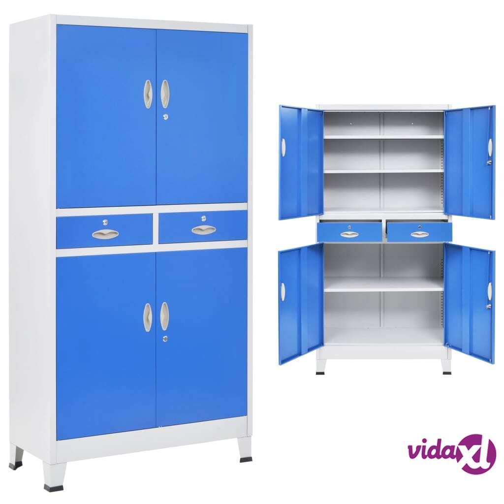 Image of vidaXL Toimistokaappi 4 ovella metalli 90x40x180 cm harmaa ja sininen