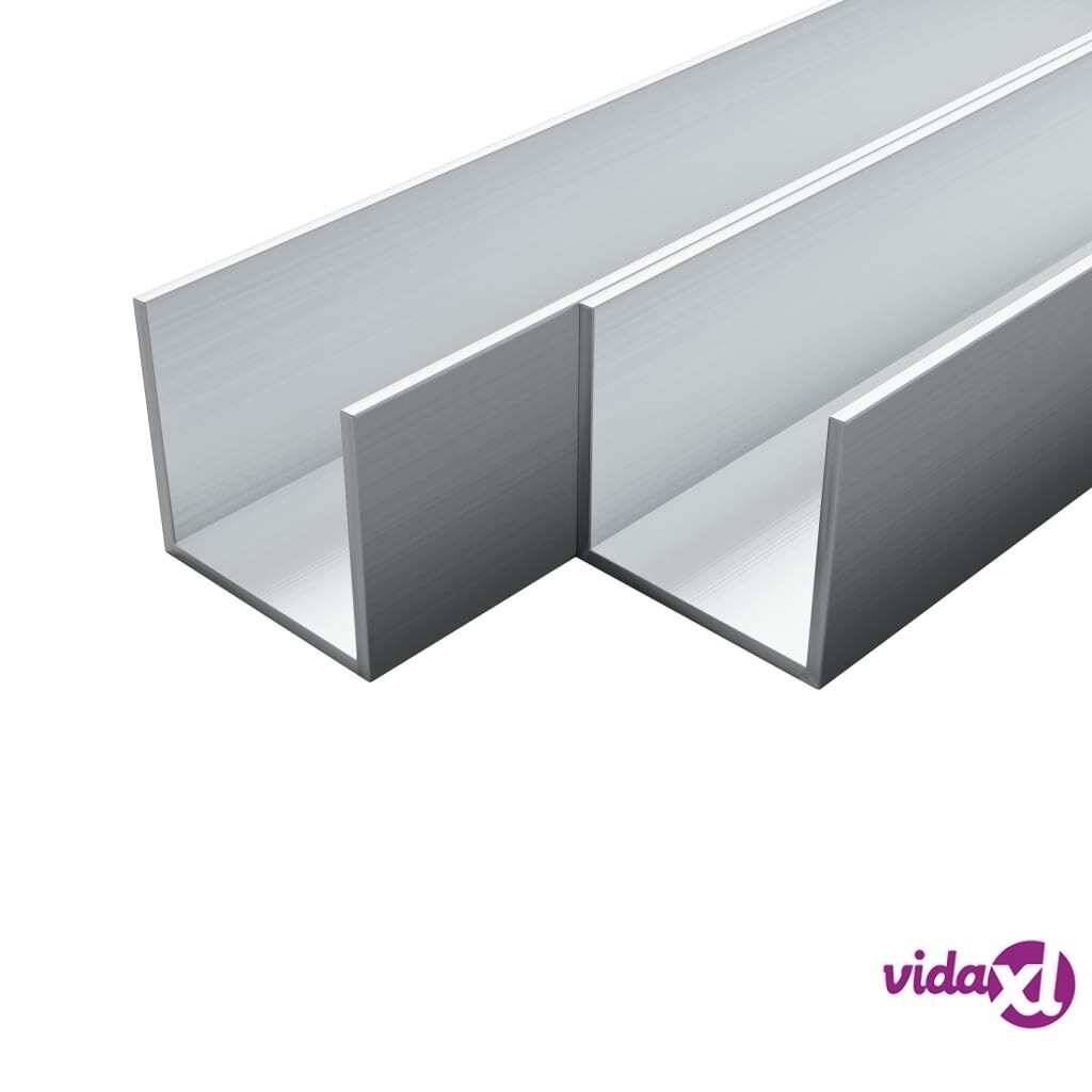 Image of vidaXL 4 kpl Alumiinikanavat U-Profiili 1m 10x10x2mm