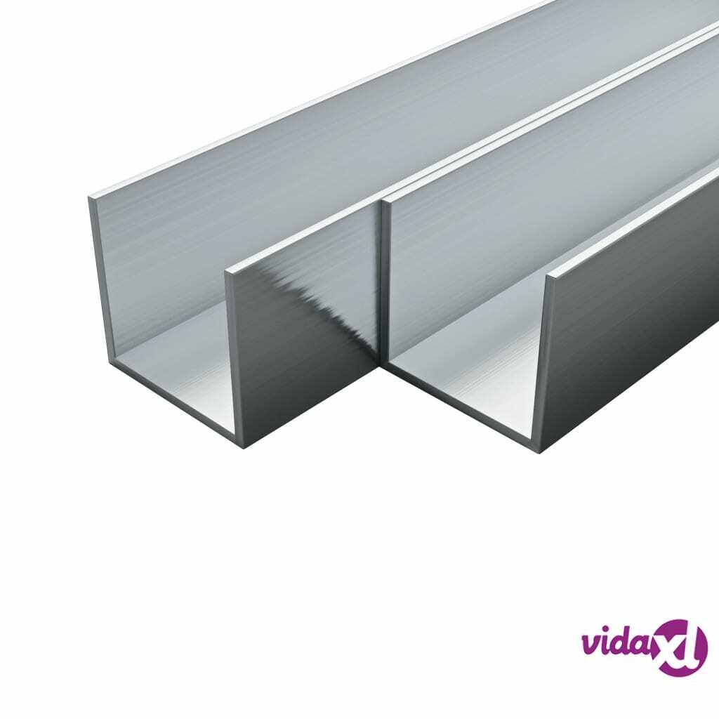 Image of vidaXL 4 kpl Alumiinikanavat U-Profiili 1m 15x15x2mm