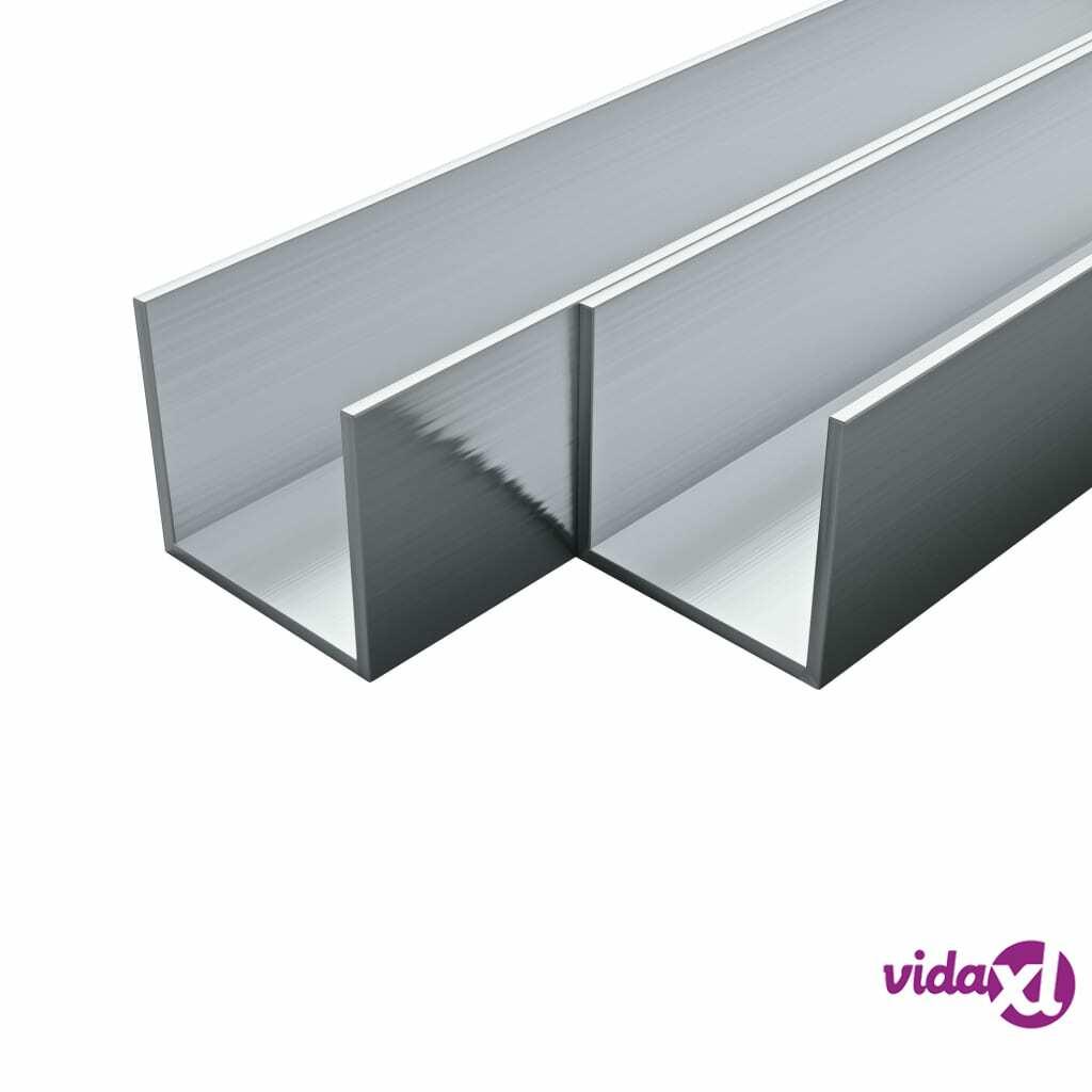Image of vidaXL 4 kpl Alumiinikanavat U-Profiili 2m 20x20x2mm