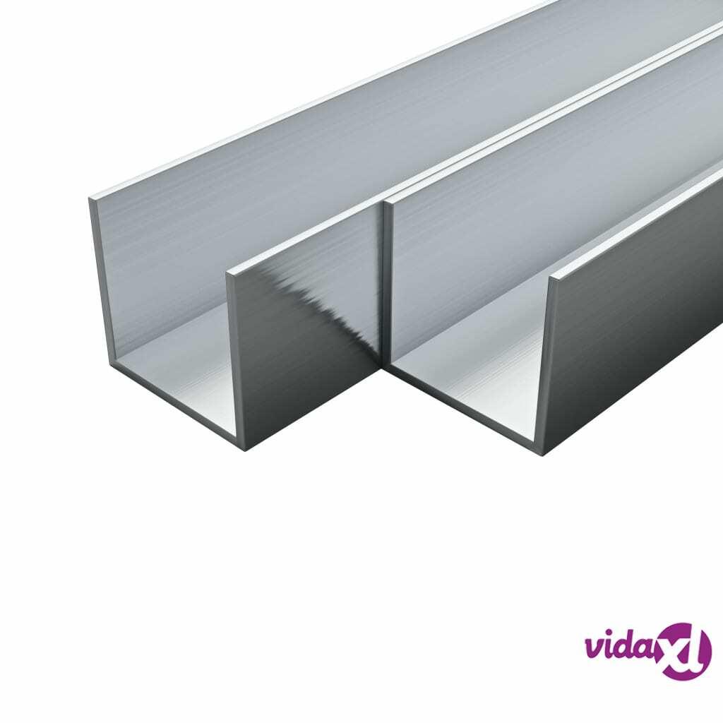 Image of vidaXL 4 kpl Alumiinikanavat U-Profiili 2m 30x30x2mm