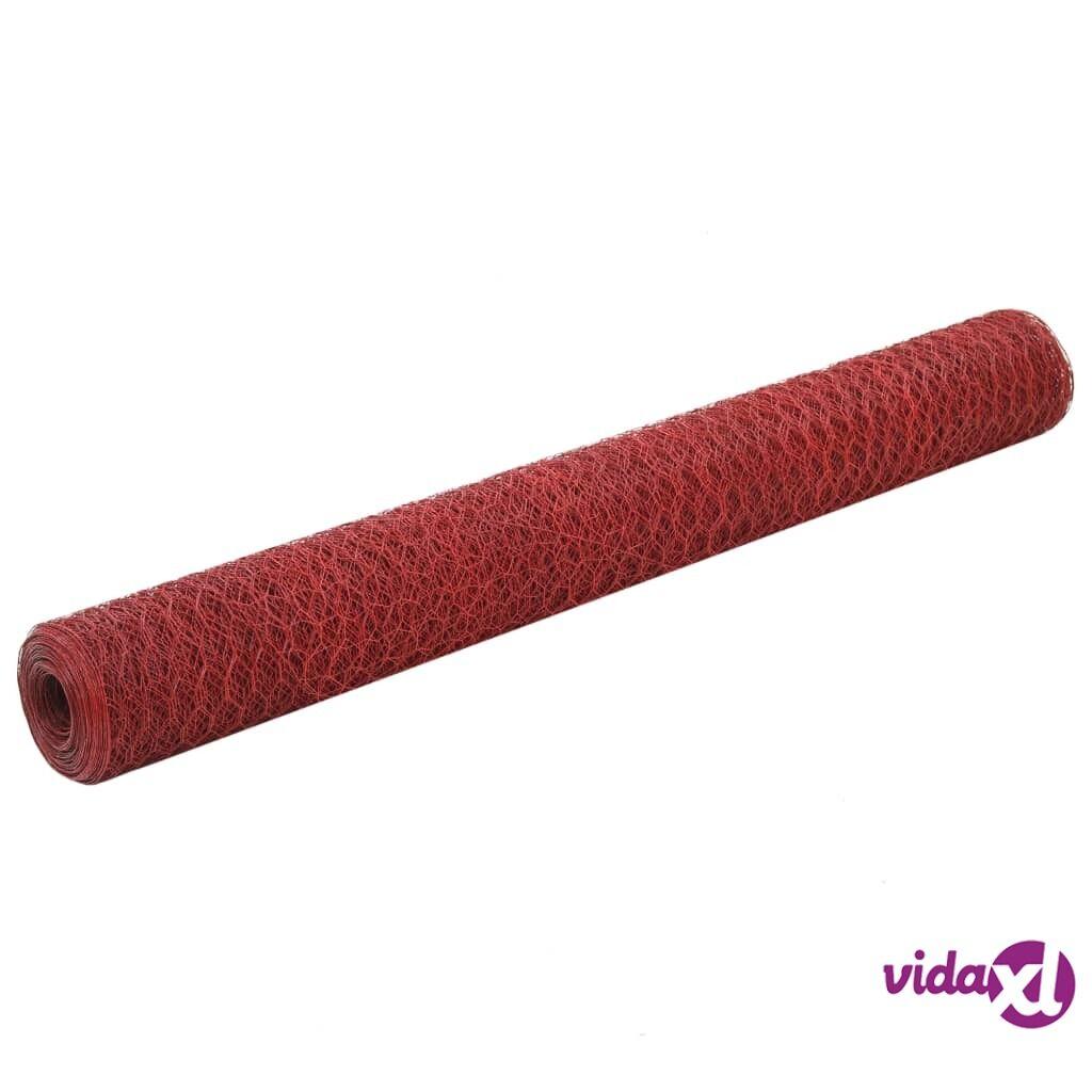 Image of vidaXL Metalliverkko PVC-pinnoitettu teräs 25x1,2 m punainen