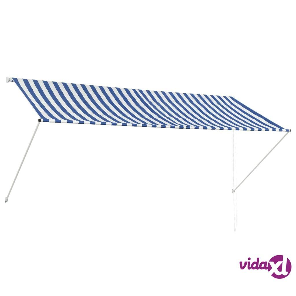 Image of vidaXL Sisäänkelattava markiisi 300x150 cm sininen ja valkoinen