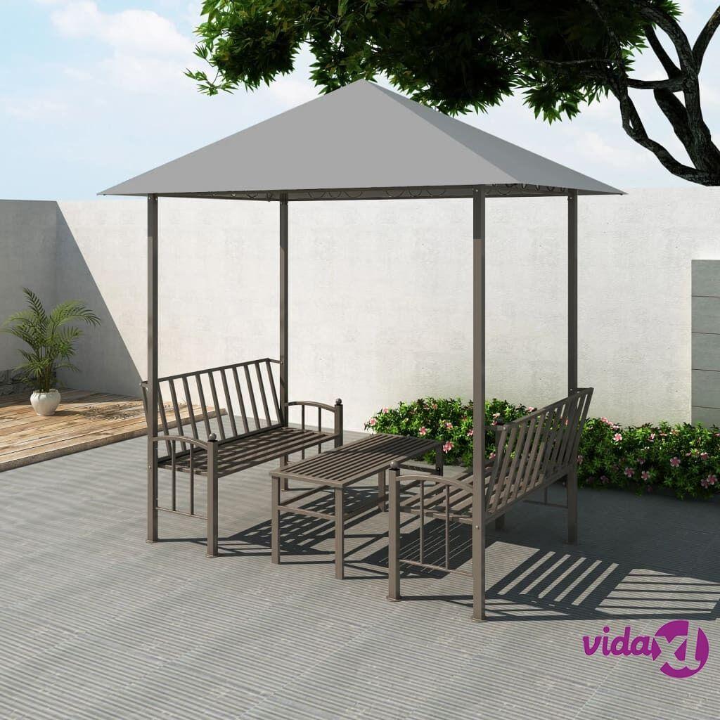 Image of vidaXL Paviljonki pöydällä ja penkeillä 2,5x1,5x2,4 m antrasiitti