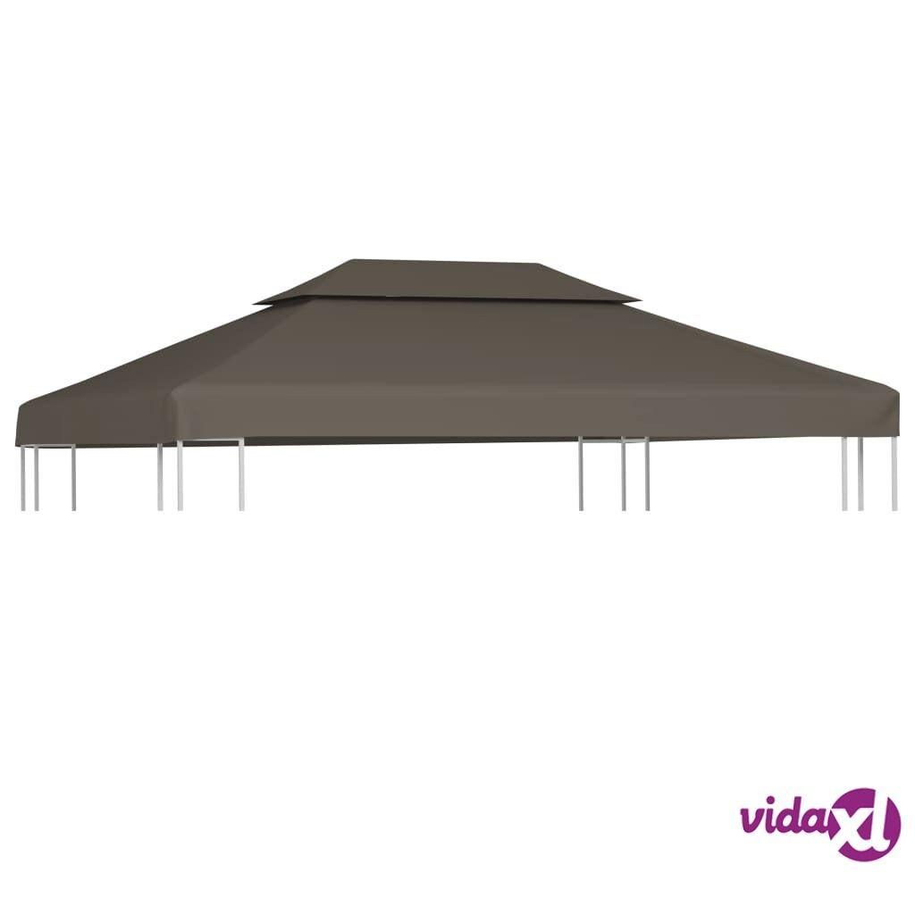 Image of vidaXL Huvimajan katto 2 kerrosta 310 g / m² 4x3 m harmaanruskea