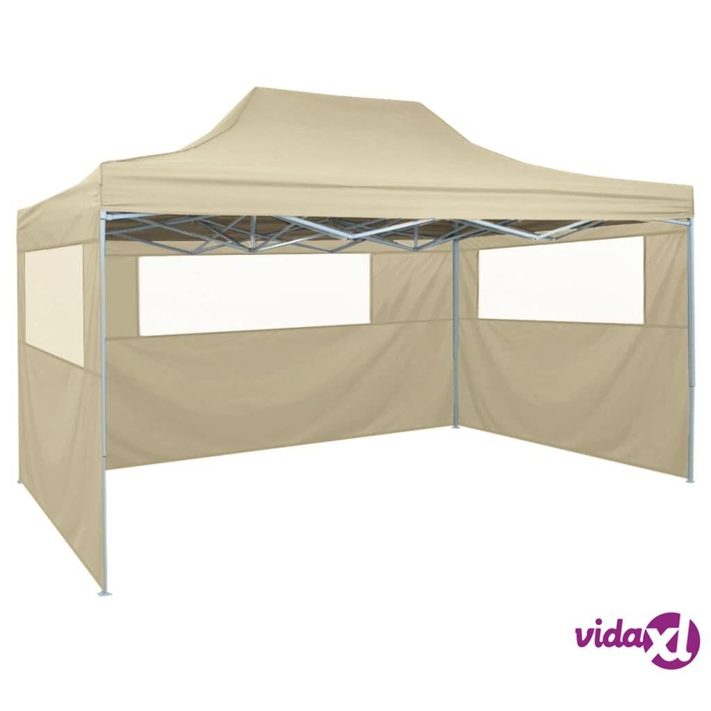 Image of vidaXL kokoontaitettava teltta 3:lla seinällä 3x4,5 m kerma