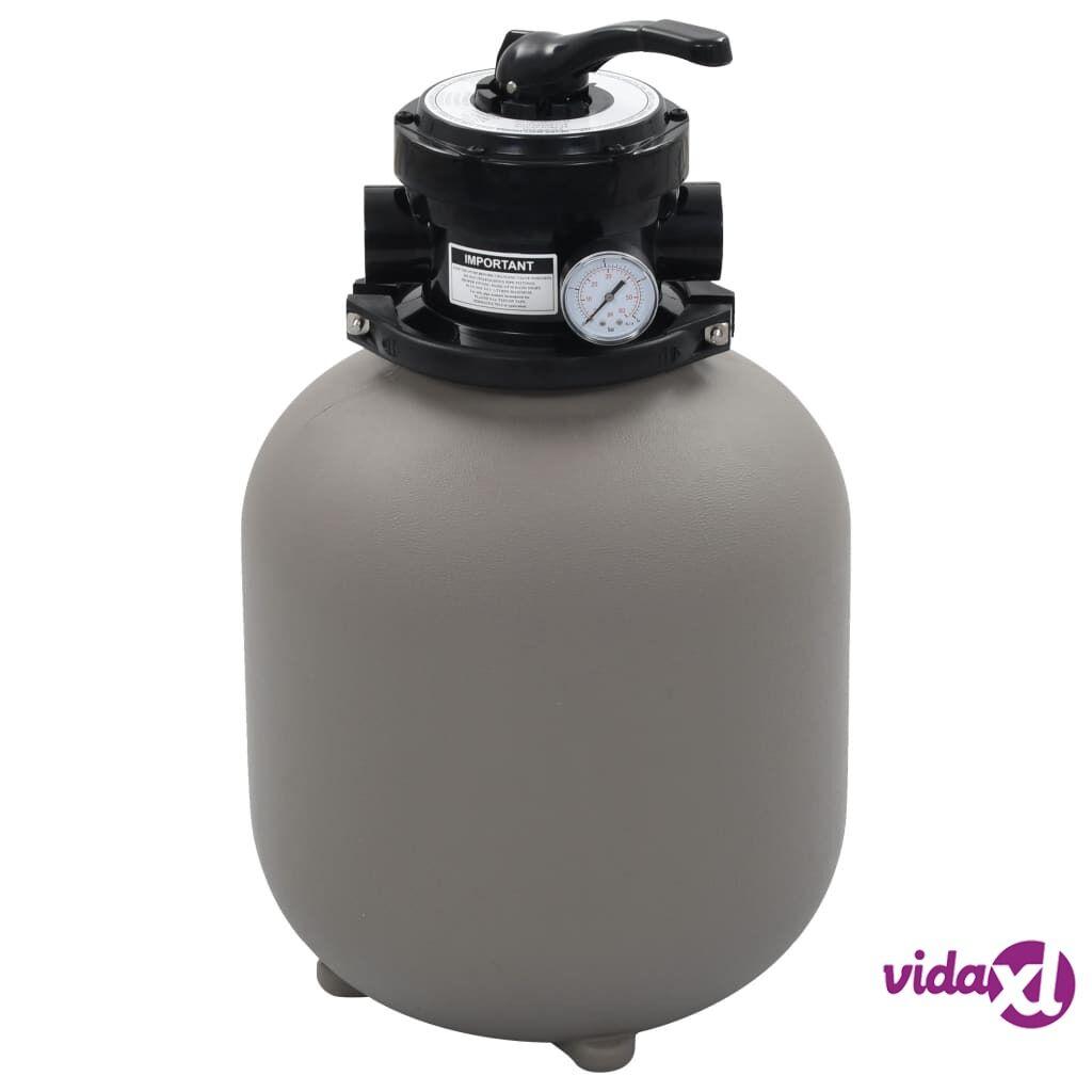 vidaXL Uima-altaan hiekkasuodatin 4-asento venttiilillä harmaa 350 mm