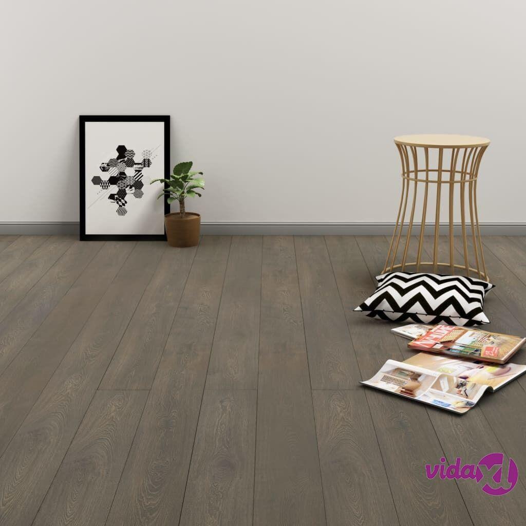 Image of vidaXL Itsekiinnittyvä lattialankku 4,46 m² PVC harmaa ja ruskea