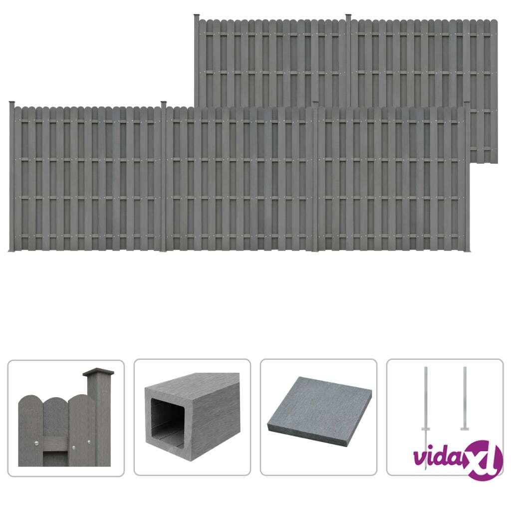 Image of vidaXL Aitasarja 5 osaa neliö puu-muovikomposiitti 932x185 cm harmaa