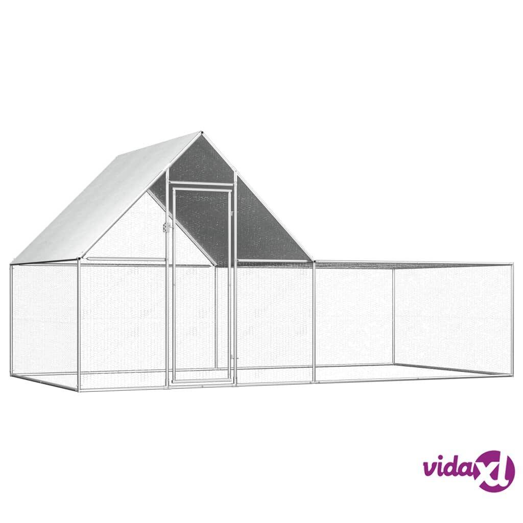 vidaXL Kanahäkki 4x2x2 m galvanoitu teräs