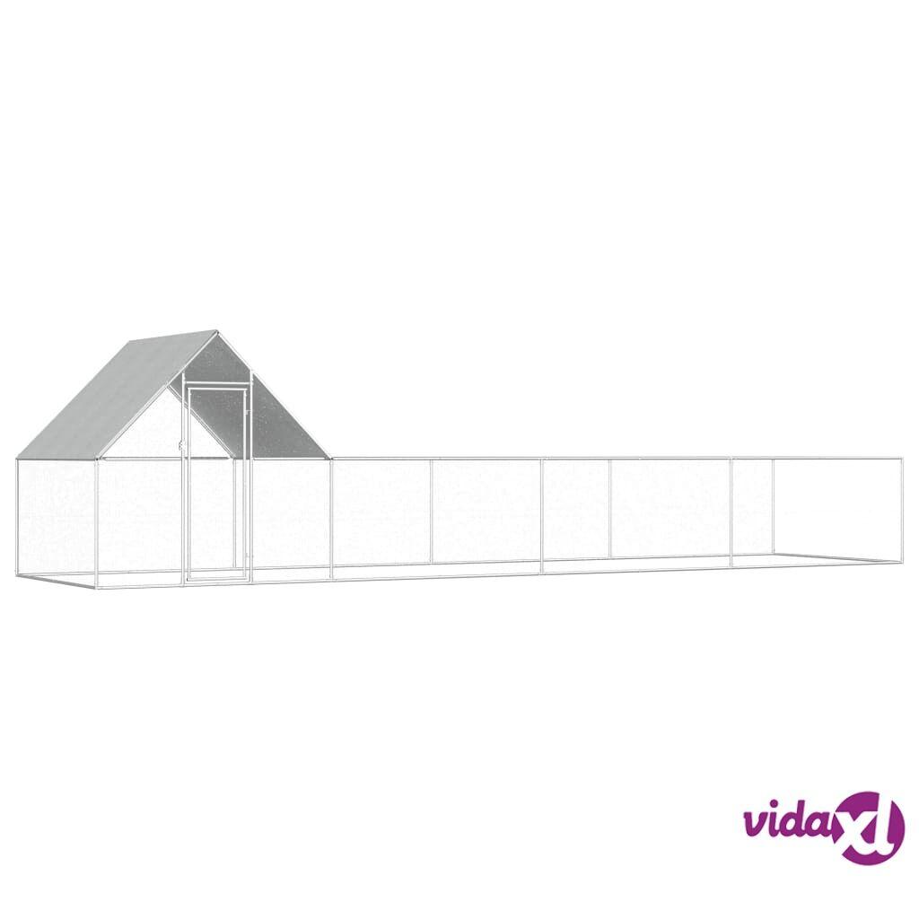 vidaXL Kanahäkki 8x2x2 m galvanoitu teräs