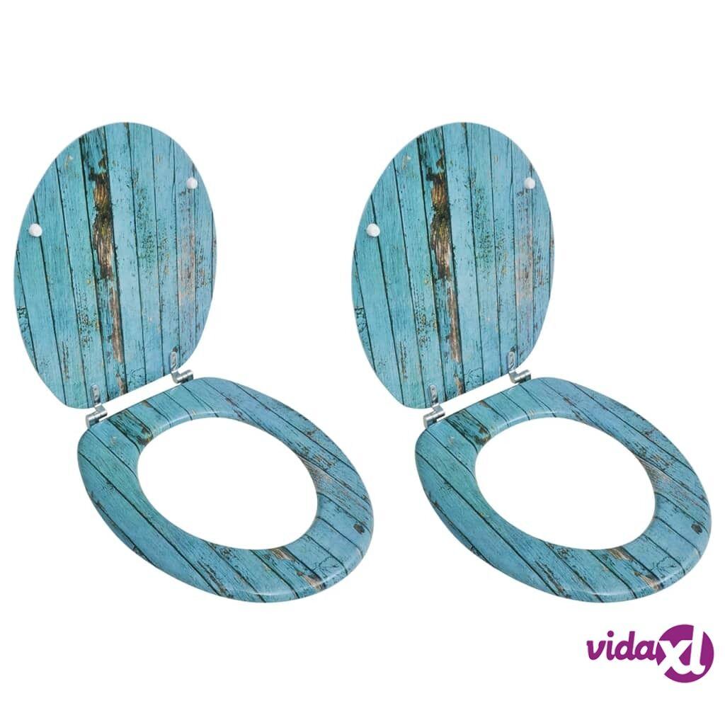 Image of vidaXL WC-istuimet hard-close kansilla 2 kpl MDF vanha puu