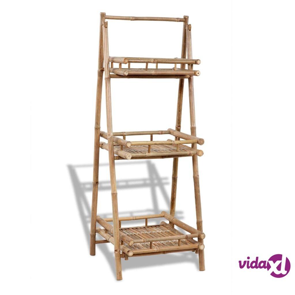 Image of vidaXL 3-kerroksinen Bambu Kukkateline Kokoontaitettava