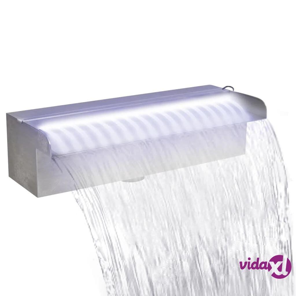 vidaXL Suorakaide Uima-altaan Suihkulähde LED:llä Ruostumaton Teräs 30 cm
