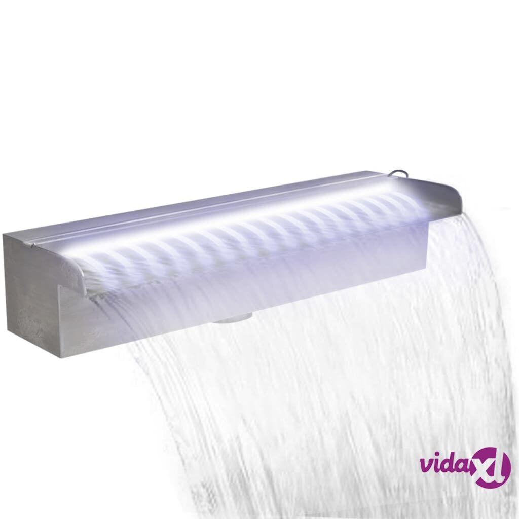 vidaXL Suorakaide Uima-altaan Suihkulähde LED:llä Ruostumaton Teräs 45 cm
