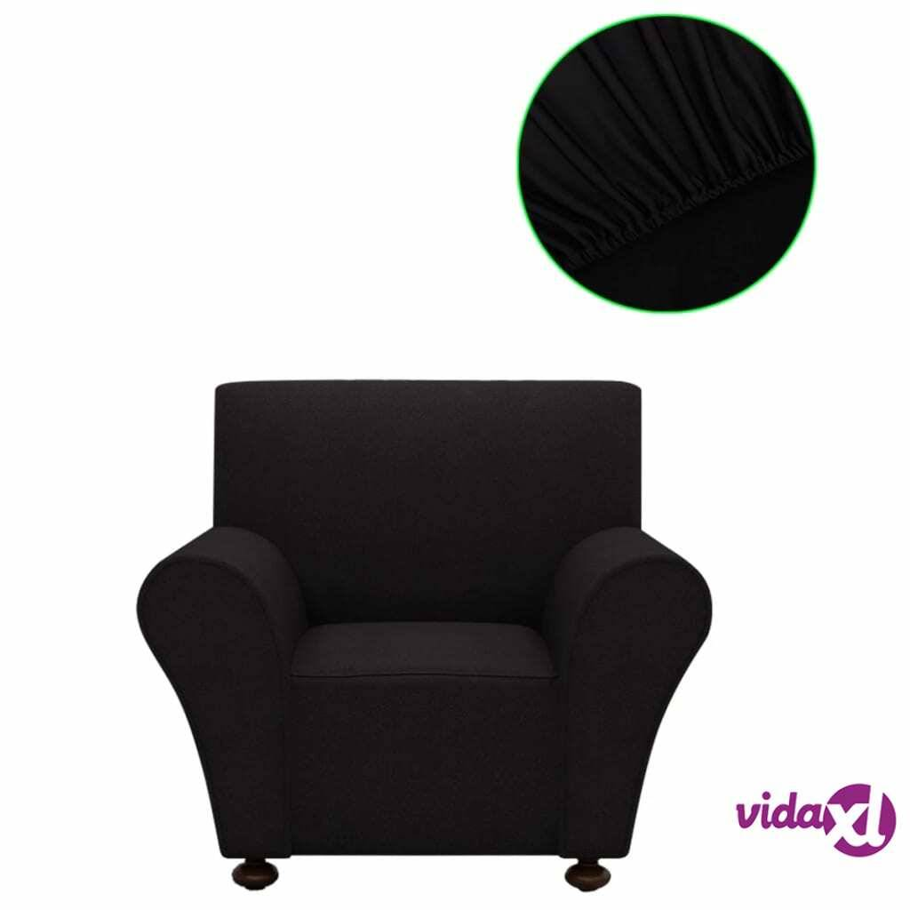 vidaXL Venyvä Sohvan Suojapäällinen Musta Polyesteri