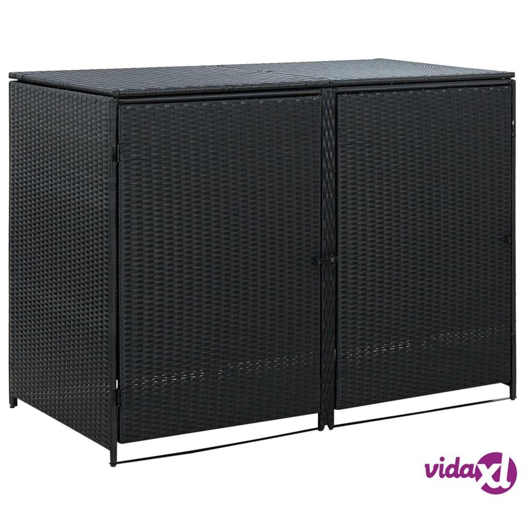 vidaXL Tupla roska-astiavaja Polyrottinki Musta 148x80x111 cm