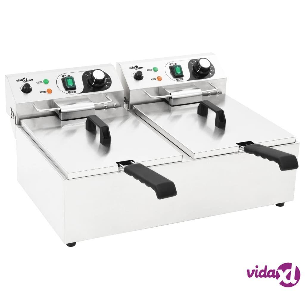 vidaXL Sähköinen tupla rasvakeitin ruostumatonta terästä 20 L 6000 W