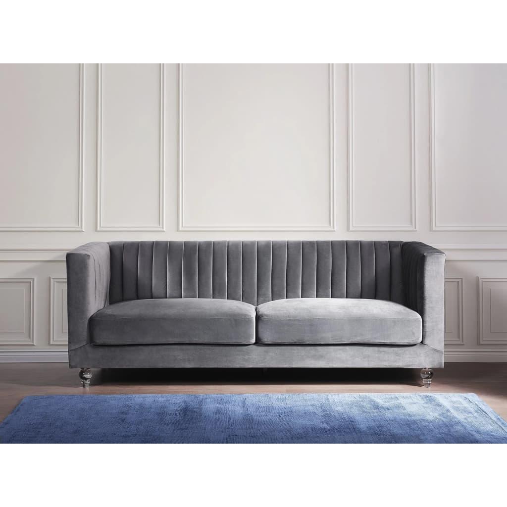 Beliani 3-istuttava sohva samettinen tummanharmaa ARVIKA