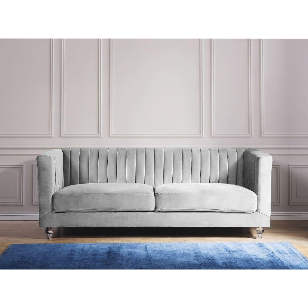 Beliani 3-istuttava sohva vaaleanharmaa ARVIKA