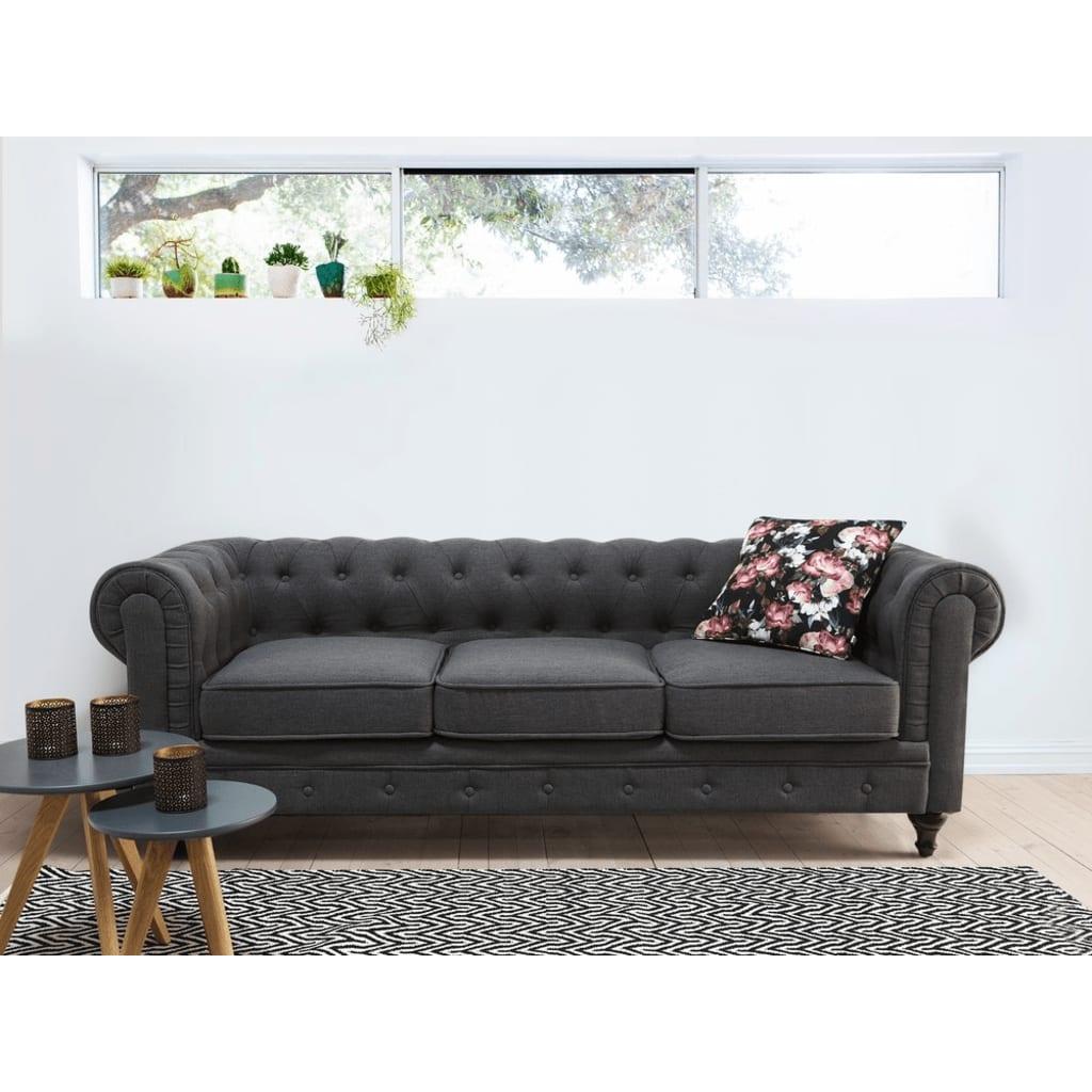 Beliani 3-istuttava sohva kankainen harmaa CHESTERFIELD
