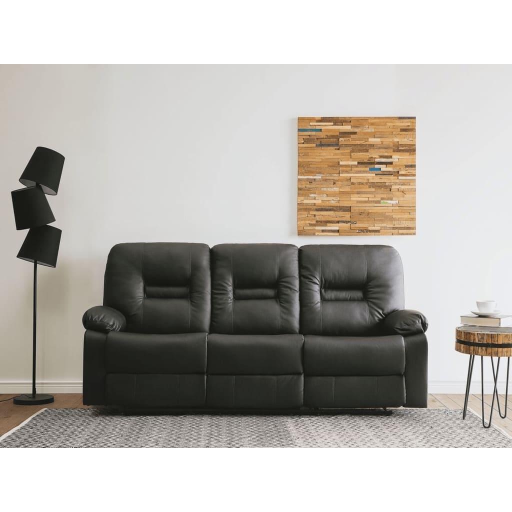 Beliani 3-istuttava säädettävä keinonahkainen sohva - musta BERGEN