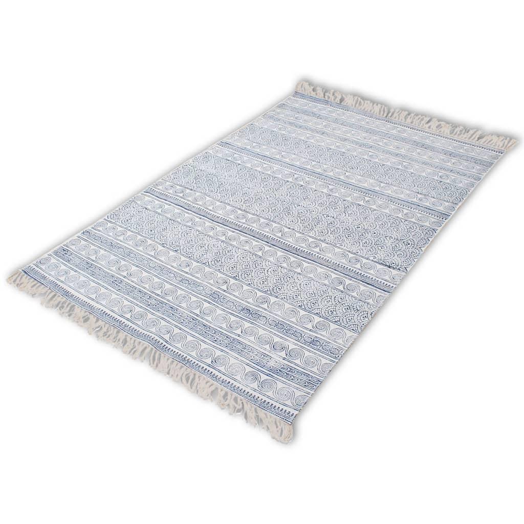 vidaXL Puuvillamatto 180x120 Sininen
