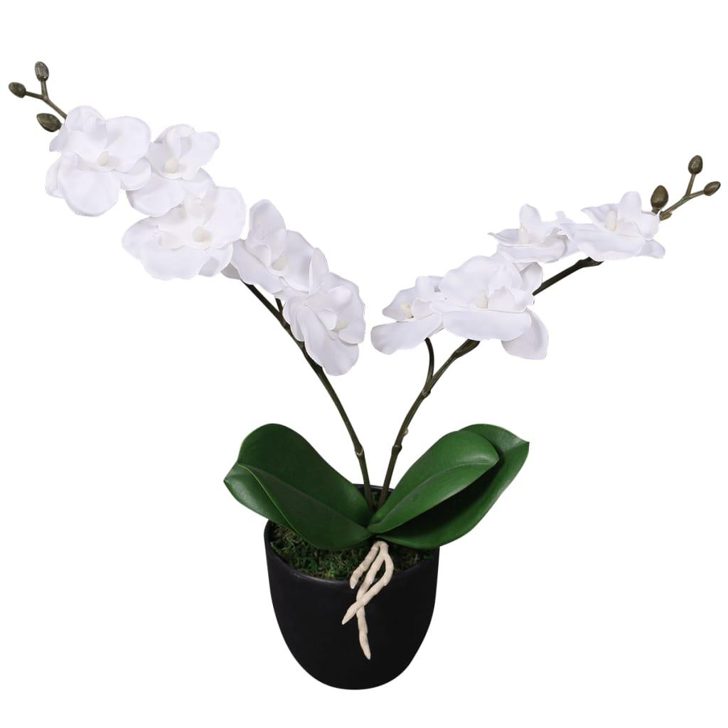 vidaXL Tekokukka ruukulla orkidea 30 cm valkoinen