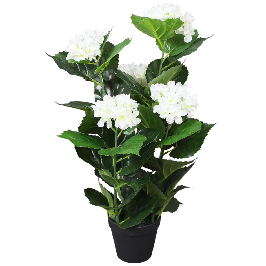 vidaXL Tekokukka ruukulla hortensia 60 cm valkoinen