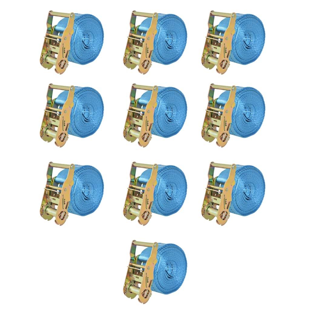 vidaXL Räikkä kuormaliinat 10 kpl 2 tonnia 6mx38mm Sininen