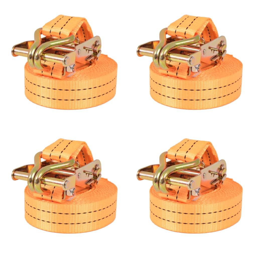 vidaXL Räikkä kuormaliinat 4 kpl 1 tonnia 6mx38mm Oranssi