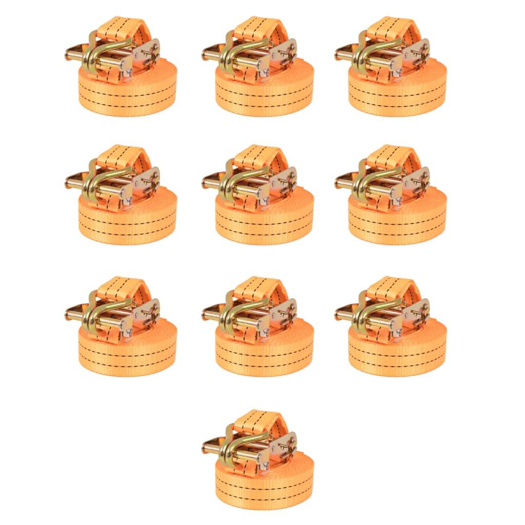 vidaXL Räikkä kuormaliinat 10 kpl 1 tonnia 6mx38mm Oranssi