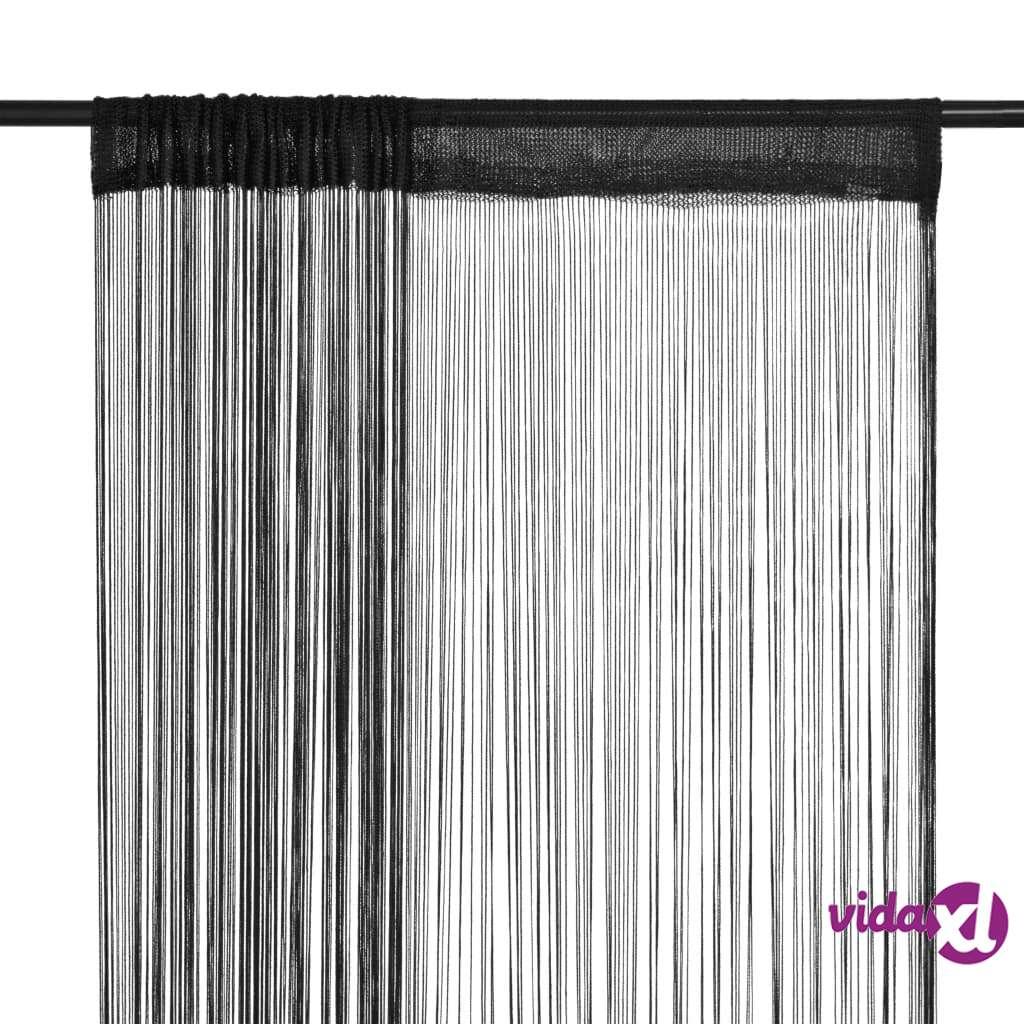 vidaXL String-verhot 2 kpl 140x250 cm Musta