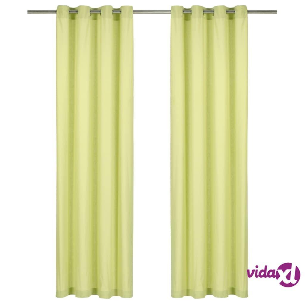 vidaXL Verhot metallirenkailla 2 kpl puuvilla 140x245 cm vihreä