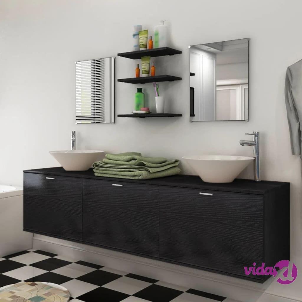 Image of vidaXL 8-osainen Kylpyhuoneen Huonekalu ja Pesuallas Sarja Musta