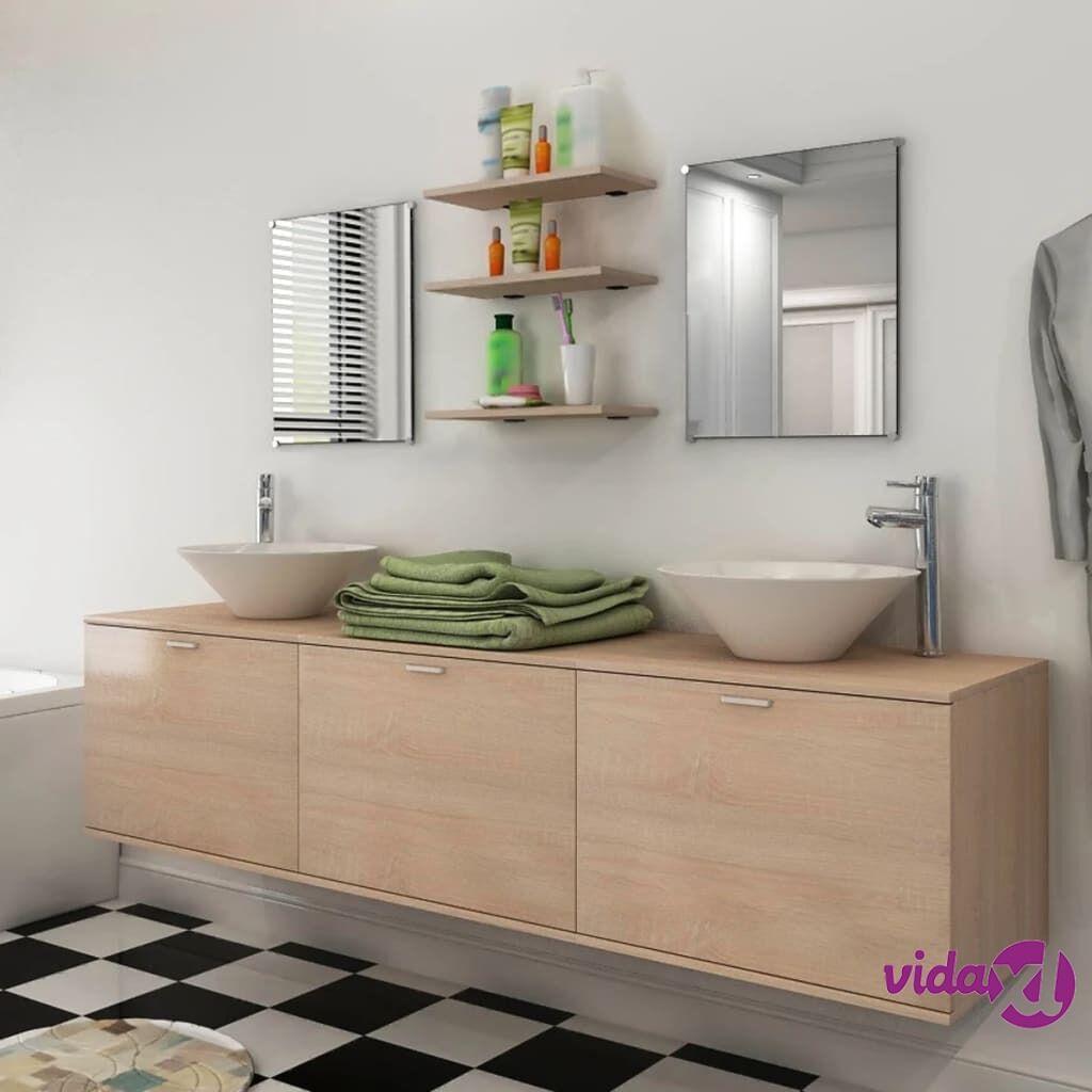 Image of vidaXL 8-osainen Kylpyhuoneen Kaluste- ja Pesuallassarja Beige