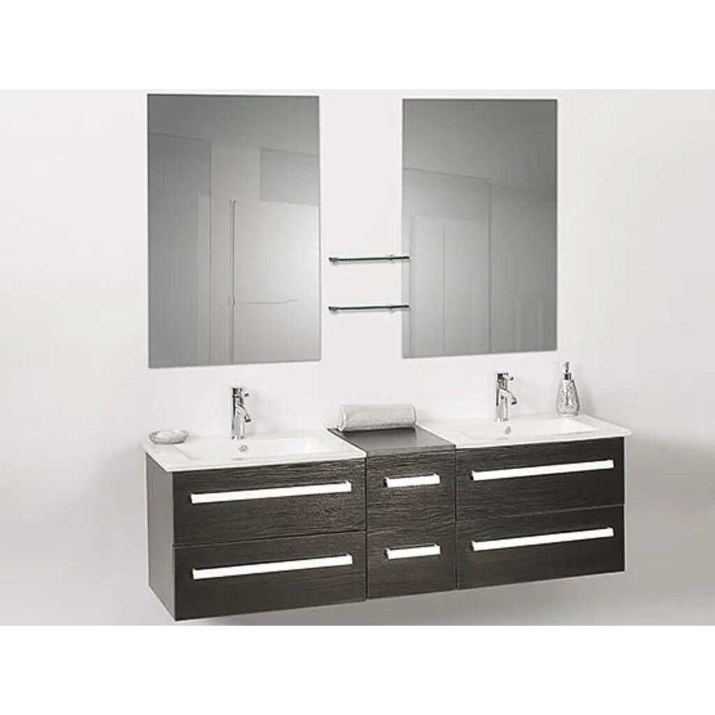 Beliani Moderni kylpyhuoneen allaskaapisto peilien kanssa - musta - MADRID