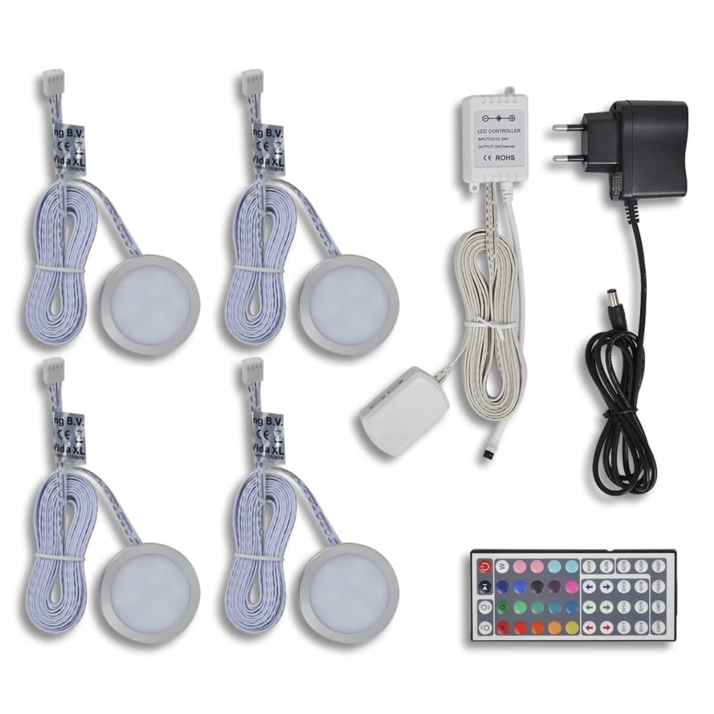 vidaXL Pyöreä LED Valosarja Hyllyyn 4 kpl (RGB-ohjain+kauko-ohjain+muuntaja)