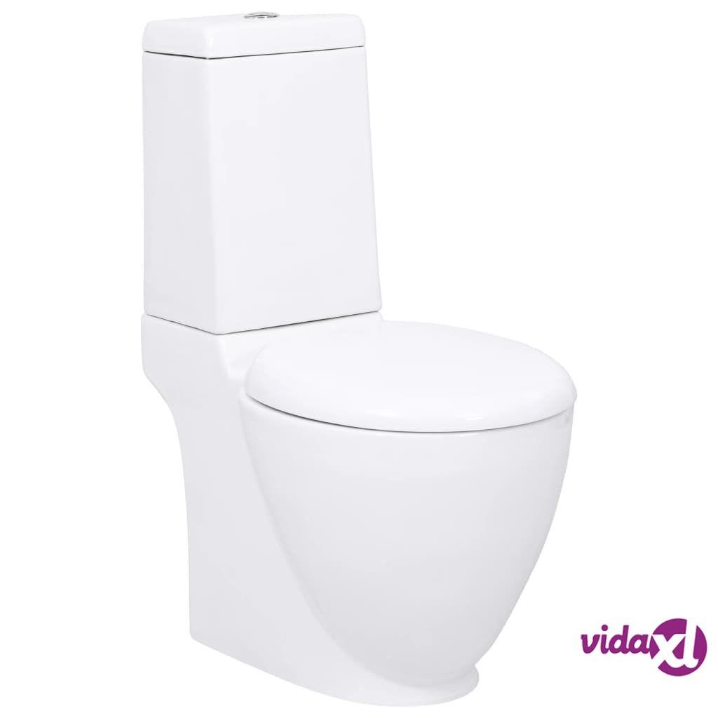 vidaXL Keraaminen WC-istuin pyöreä Valkoinen