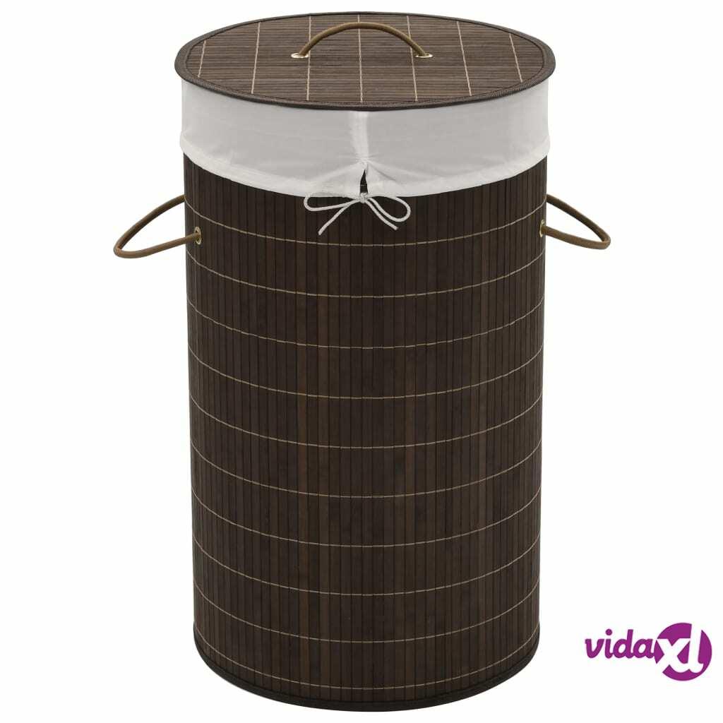 Image of vidaXL Bambu pyykkikori pyöreä tummanruskea