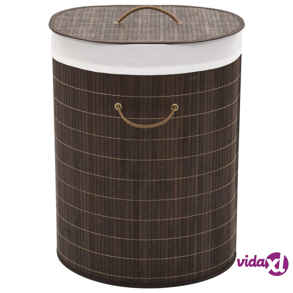 Image of vidaXL Bambu pyykkikori ovaali tummanruskea