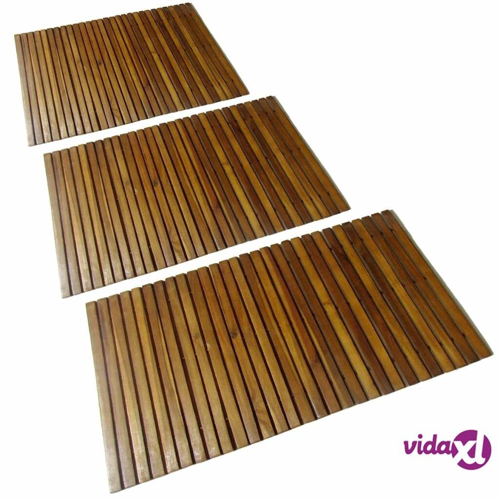 vidaXL 3 kpl Akaasia Kylpyhuoneen Matto 80 x 50 cm