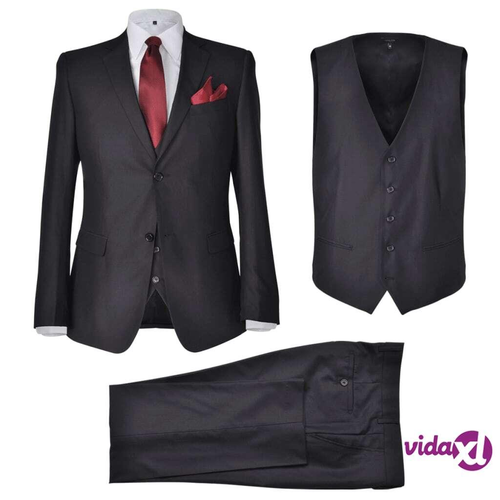 Image of vidaXL Miesten puku 3-osainen koko 56 musta