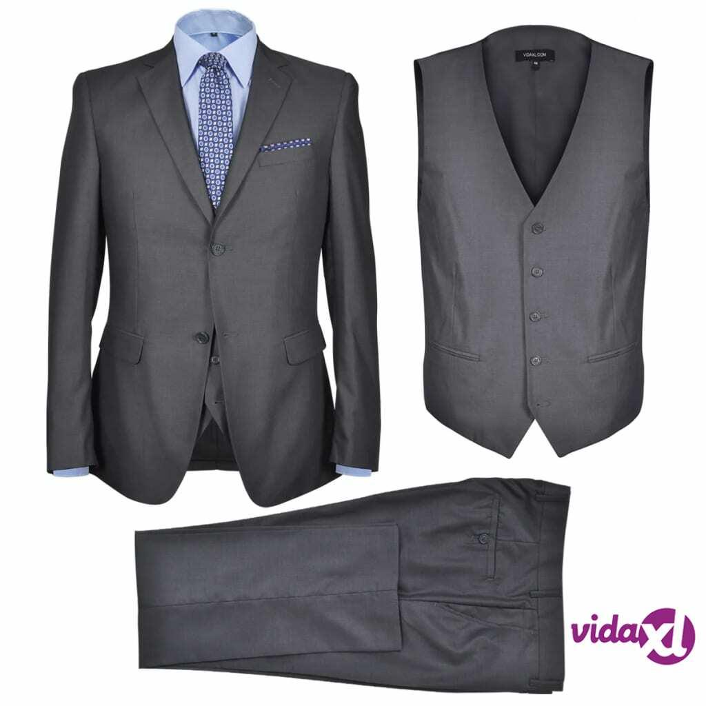 Image of vidaXL Miesten Kolmiosainen Business-puku Koko 52 Antrasiitinharmaa