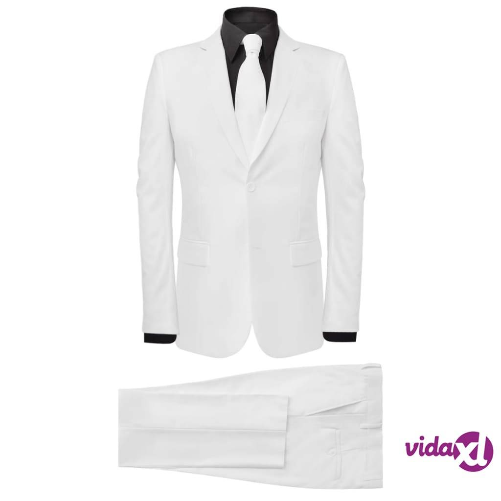 Image of vidaXL Miesten kaksiosainen puku kravatilla Valkoinen Koko 52