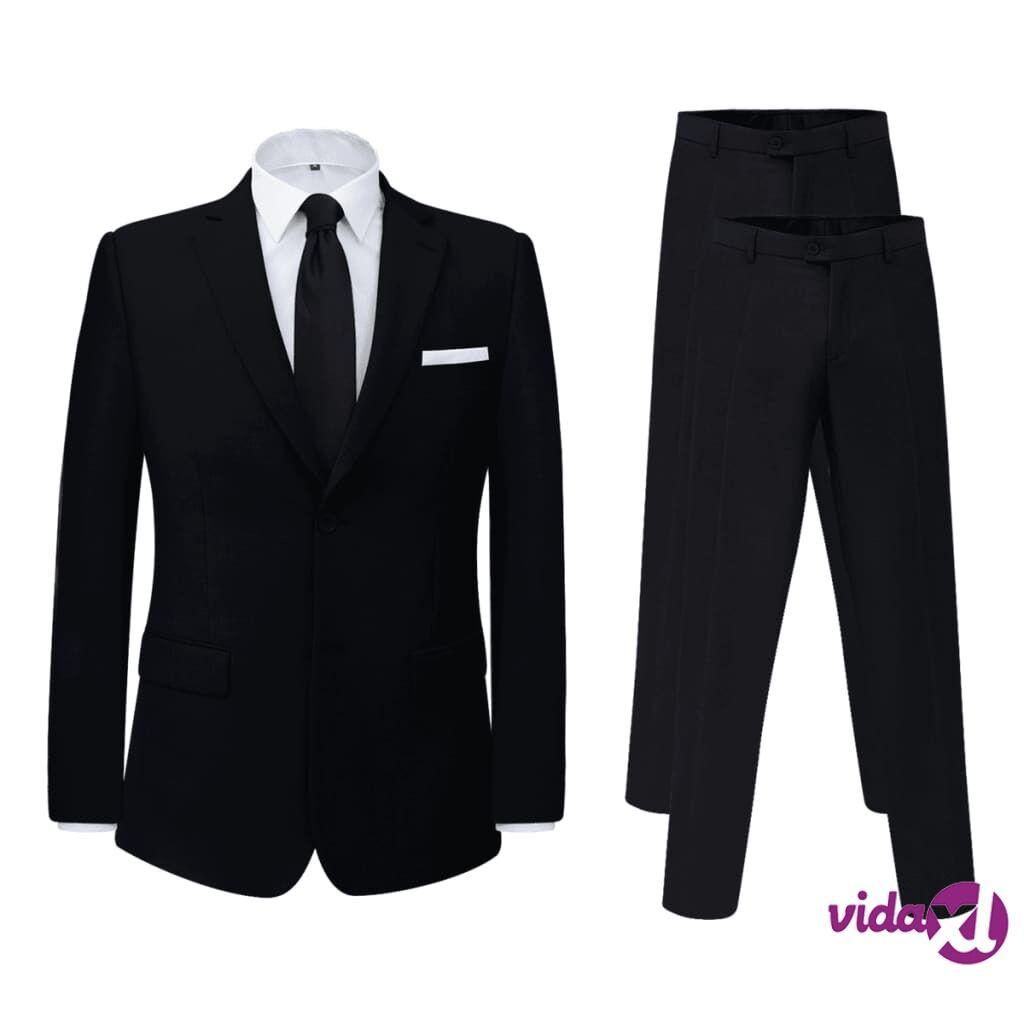 Image of vidaXL Miesten puku 2 osaa + ylimääräiset housut Musta Koko 46