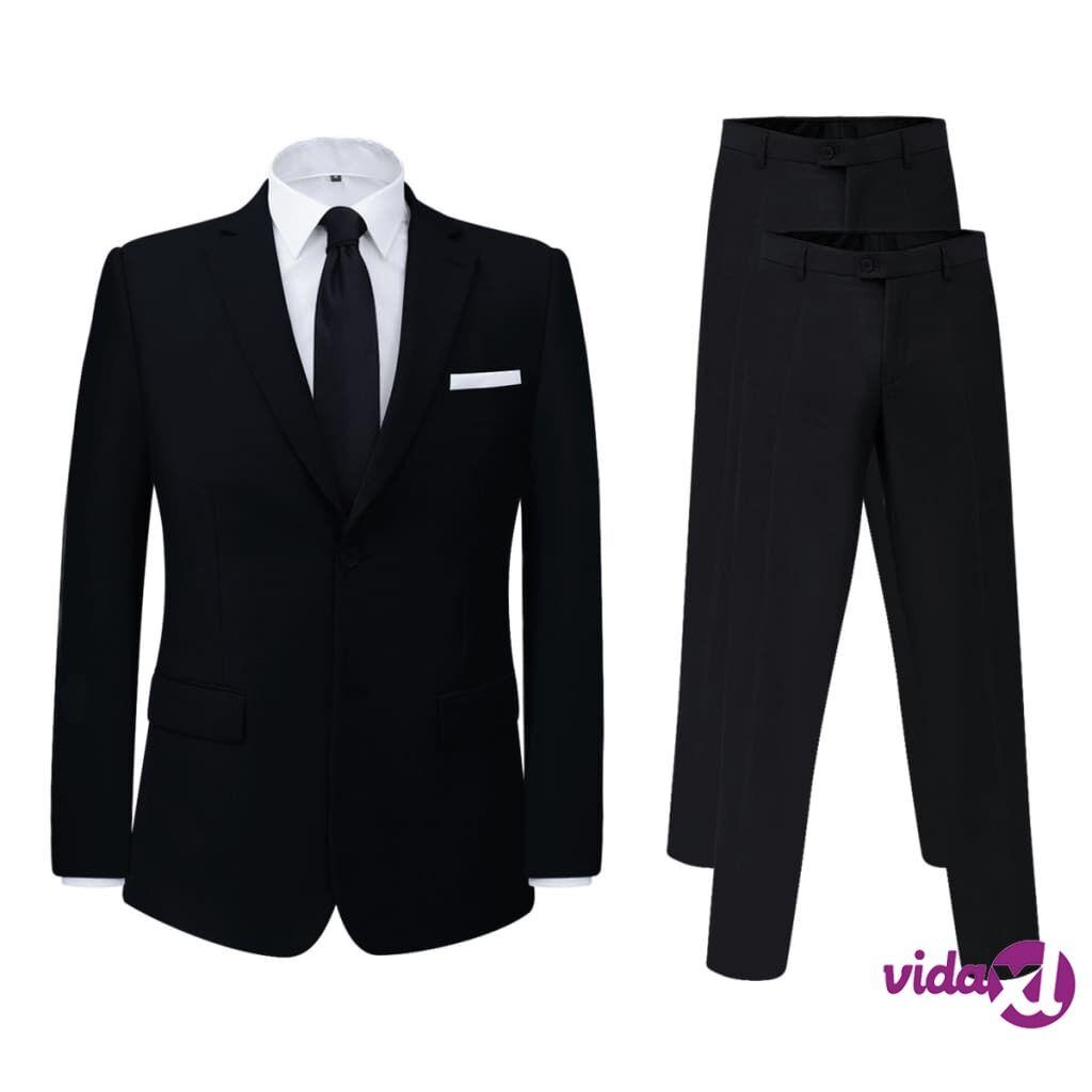 Image of vidaXL Miesten puku 2 osaa + ylimääräiset housut Musta Koko 48