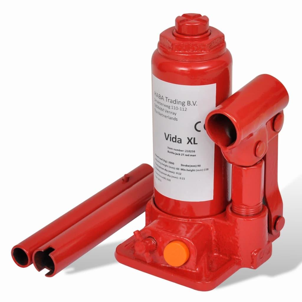 vidaXL Hydraulinen Pullotunkki 2-tonnia Punainen Autotunkki