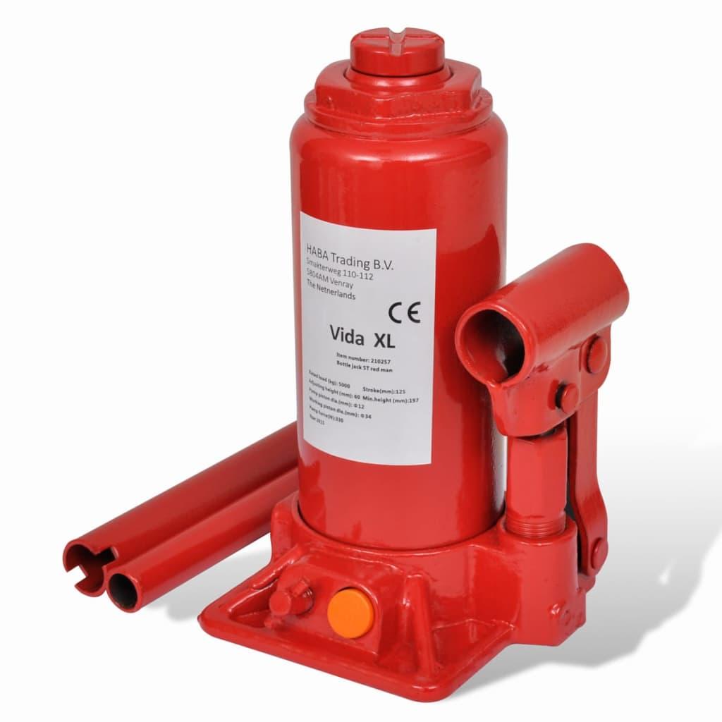 vidaXL Hydraulinen Pullotunkki 5-tonnia Punainen Autotunkki